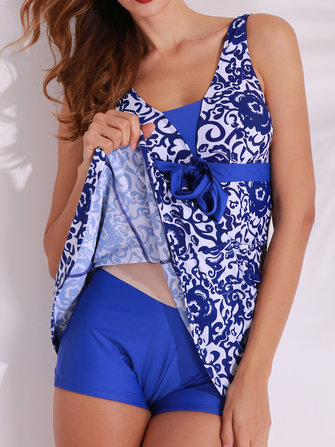 Women Plus Size 5XL Swimming Dress Printing No Rims Padding Beachwear One-piece