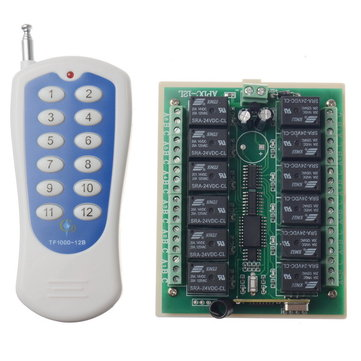12 Channel 10A 315MHZ Wireless Programable RF Remote Control Switch Transmitter + Receiver DC24V