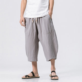Stylish Mens Cotton Linen Baggy Loose Calf Length Pants Antibacterial Casual Shorts