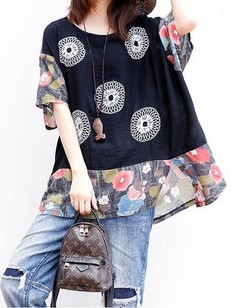 Folk Style Women Print Patchwork T-shirt à manches longues