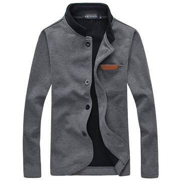 Stand Collar Fleece Liner Single Breasted Slim Spring Jacket