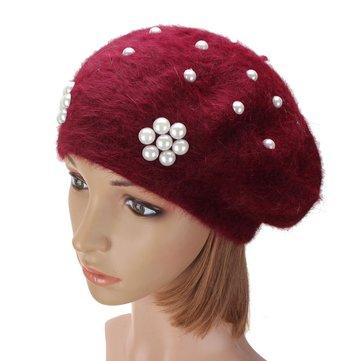 Women Ladies Rabbit Fur Cotton Flower Pearl Beaded Beret Hat Knitted Winter Soft Cap