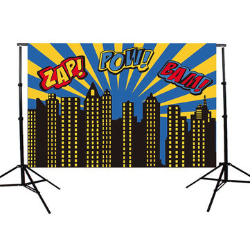 5x7FT City Superhero Zap Pow Bam Theme Vinyl Photography Backdrop Background Studio Prop