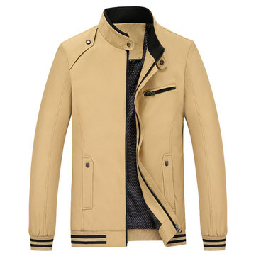 Buy Men Solid Color Stand Collar Zipper Jacket Spring Autumn Casual Coat for $58.98 in Banggood store