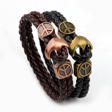 Trendy Peace Sign Anchor Serpentine Weaving Men Bracelet Jewelry Gift