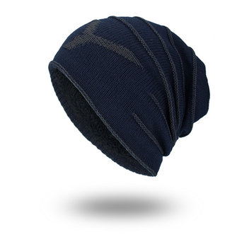 Men Knitted Solid Color Winter Warm Skull Beanie Cap With Lining Cashmere Outdoor Sport Hats
