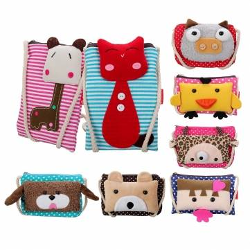 Mini Children Kids Cartoon Cute Zipper Coins Money Purse Canvas Keys Phone Casual Case Cross Body Shoulder Bag