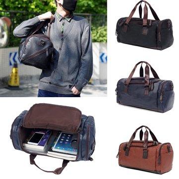 Men Large Capacity Pu Leather Travel Gym Bag Handbag Tote Duffle