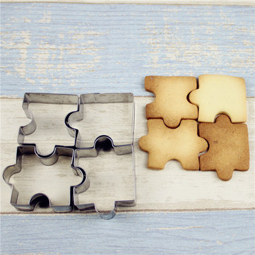 Buy 4pcs Stainless Steel Cake Mold Puzzle Piece Pastry Cookie Cutter Biscuit Baking Tools Accessories for $3.56 in Banggood store
