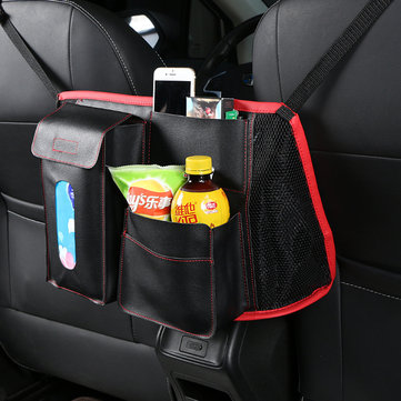 Leather Car Seat Back Storage Bag Organizer Holder Multi Pocket Travel Storage Hanging Net