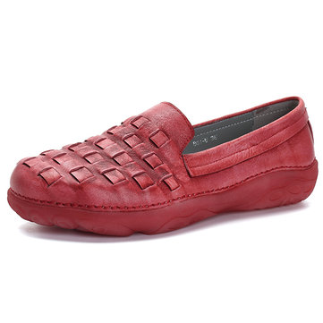 SOCOFY Handmade Knitting Soft Sole Genuine Leather Flats