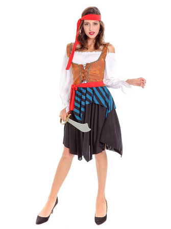 a70e362c54c9 Halloween Pirate Costume Women Off Shoulder Long Sleeve Striped Patchwork  Dress