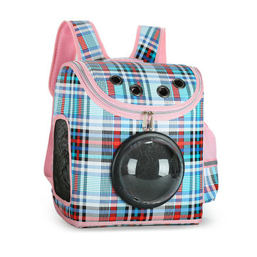 Yani Plaid Pattern Transparent Window Design Cover Breathable Pet Travel Storage Bag Cat Dog Carrier Space Backpack