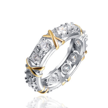 Trendy Zirconia Inlay Knot Pattern Finger Ring Gift for Girls Women
