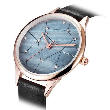 REBIRTH RE086 Starry Sky Women Wrist Watch Rose Gold Case Quartz Watch