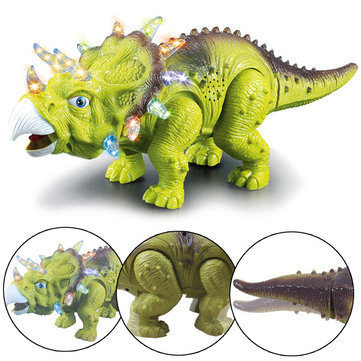 Electric Walking Dinosaur Triceratops Figure Model With Light Sound Toys For Kids Children Gift