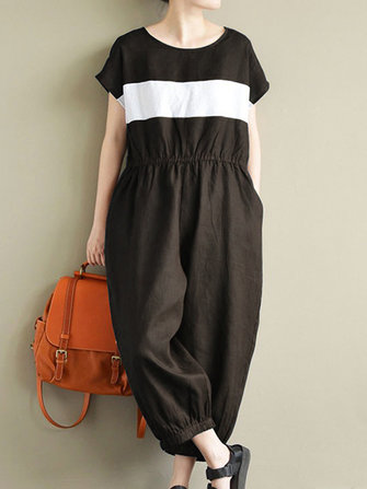 Women Stripe Crewneck Short Sleeve Long Jumpsuit Overalls