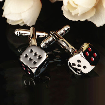 Men Male Silver Dice Pattern Square Cuff Links Wedding Gift Suit Shirt Accessories