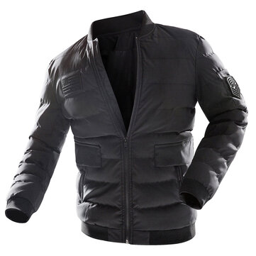 Mens Baseball Collar Thick Winter Warm Casual Bomber Jacket