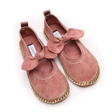 Women Bowknot Round Toe Slip-On Suede Outdoor Flat Casual Shoes
