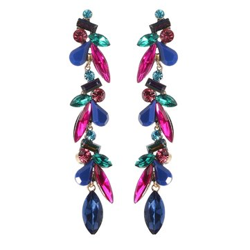 JASSY® Retro Antique Gold Full Crystal Sapphire Earring