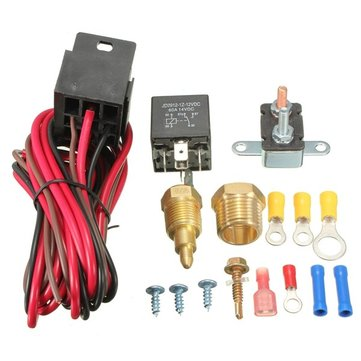 185~200 Degree Engine Cooling Fan Thermostat Temp Switch Sensor 5pins Relay Kit