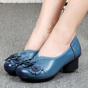 SOCOFY Women Casual Soft High Heel Shoes In Leather