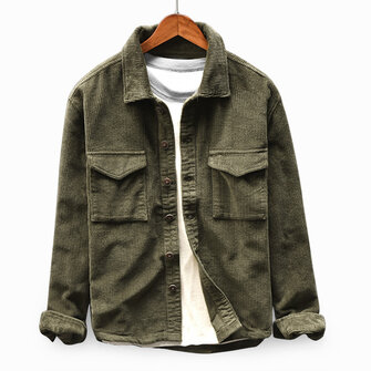 Mens Corduroy Vintage Double Pockets Loose Comfy Coats