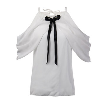 Elegant Sexy Women White Halter Off Shoulder Bow Pleated Chiffon Blouse