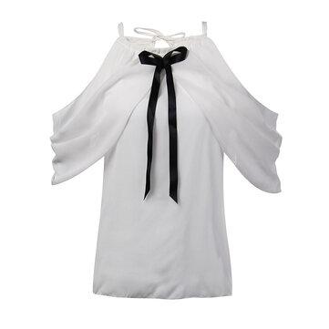 Elegant Sexy Women White Halter Off Shoulder Bow Pleated Chiffon Blouse