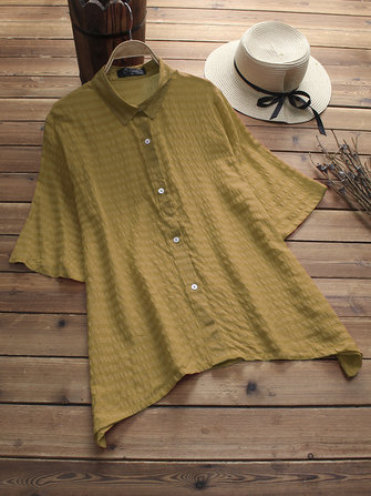 L-5XL Kvinnor Casual Short Sleeves Striped Shirts