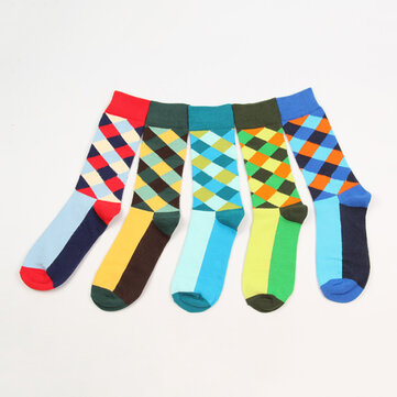 Fashion Argyle Gradient Color British Style Mid Calf Socks Cotton Comfortable Soft Socks