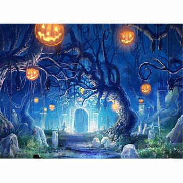 7X5FT Halloween Pumpkin Night Forest Grave Vinyl Backdrop Photo Prop Photography Background