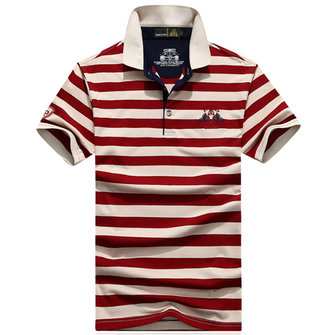 Mens Pure Cotton T-Shirt Casual Stripe Short Sleeve Golf Shirt