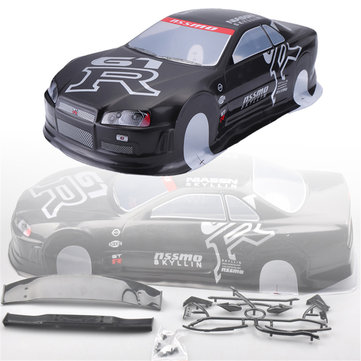 1PC Box Pack 020GR 190MM Painted PVC Body Shell +Rear Wing for 1/10 RC Drift Racing Car Model Parts