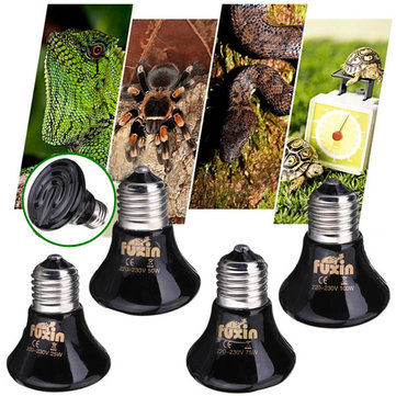 220V Mini Black Ceramic Heat Infrared Emitter Lamp Bulb for Reptile Pet Brooder 25W/50W/75W/100W