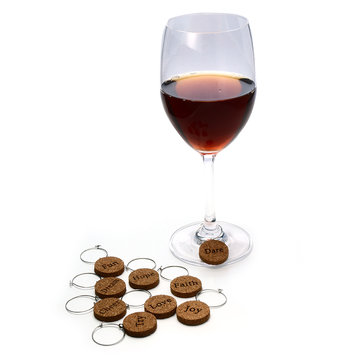 KCASA KC-WM039 9Pcs Wood Inspirational Wine Charm Cocktail Drinks Glass Maker Decoration