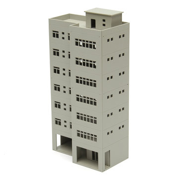 1/87 Light Grey Outland Models Modern Tall Business Office Building For Sandbox
