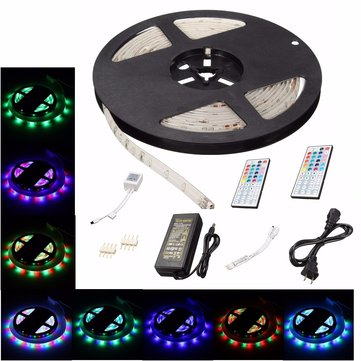 5M 3528 SMD 300LED RGB Waterproof Flexible Strip Light + 44 keys Remote Control US Plug DC12V