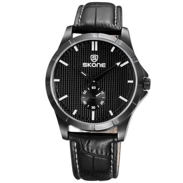 SKONE 3830 Mode homme d'affaires montre-bracelet Casual PU bracelet montre à quartz