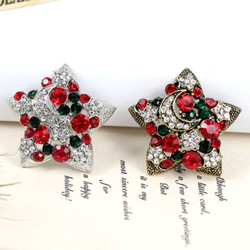 1 Pc New Year Christmas Gifts Star Brooches Fashion Design Colorful Rhinestone Christmas Brooch Pins For Women