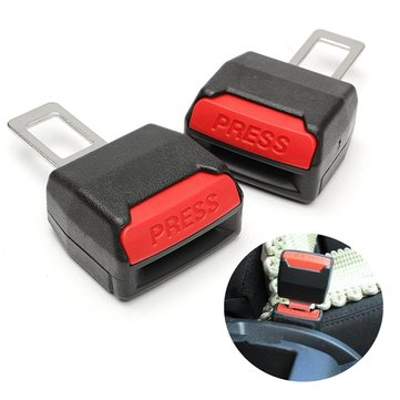 Pair Car Seat Belt Alarm Stopper Buckle Insert Clips Extender Accident Eliminator