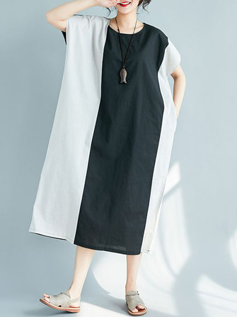 Plus Size Women Casual Two-tone Patchwork Loose A-line Dress