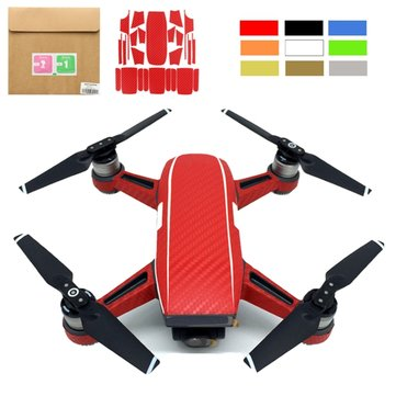 Waterproof Carbon Fiber Stickers Full Body with Batteries Decal Skin Cover Protector For DJI Spark