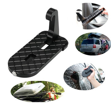 Folding Car Doorstep Ladder Hook Latch Easy Access to Car Rooftop Roof-Rack Safety Hammer
