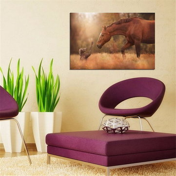 Friendship of Horse and Dog Silk Poster Fabric Nature Animal Print Wall Home Decoration
