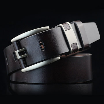 108CM Business Alloy Buckle Leather Belt Plain Adjustable Waistband for Men