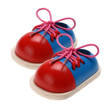 1Pcs Children Educational Toys Wooden Toys Toddler Lacing Shoes Kids Early Education Trainning