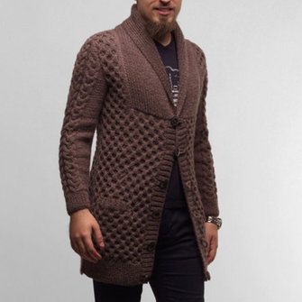 Men's Casual Knit Cardigans Single Breasted Thick Sweater