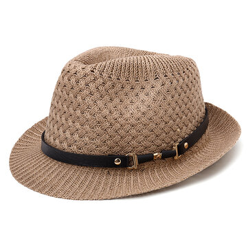 Men Women Breathable Woven Straw Jazz Hat Brimmed Hat Visor